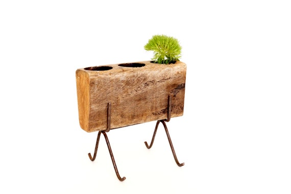 Vintage / Antique Wooden Sugar Mold with Metal Stand  (c.1920s) - Rustic Home Decor, Unique Vase, Storage, and more