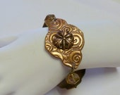 Handcrafted Rose Bronze PMC Bracelet with Czech Crystals