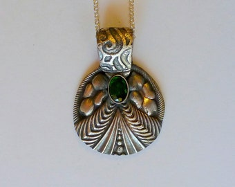 Handcrafted Fine Silver PMC Pendant with Natural Untreated Chrome Diopside Gemstone and Sterling Silver Chain