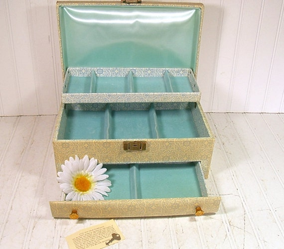 Large Textured Jewelry Box - Vintage Wedgwood Blue Buxton - 3 Tiers - Shabby Chic Display Case