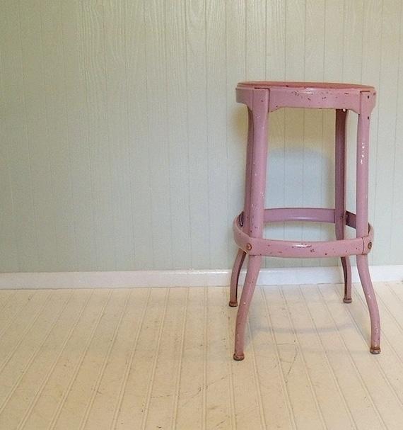 Vintage Mauve Pink Metal Stool -  Rustic Workshop Bench - Chippy Painted Artisan Seat