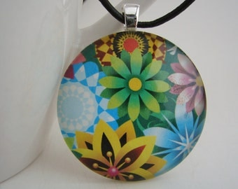 1.5 Inch Candy Flowers Pendant with Free Black Leather Cord Necklace
