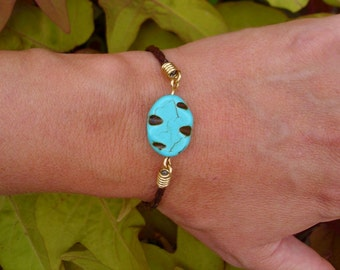Turquoise Brown Braided Leather Bracelet