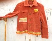 SALE autumn pumpkin  corduroy upcycled eco fringe gypsy boho rustic cottage chic size small lace shabby blazer jacket