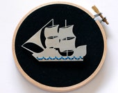 The Ship - Stainless Steel and Cotton brooch
