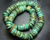 14 Inches So gorgeous Tribal Old Looking Tibetan Turquoise Smooth Wheel Shape Beads Size 10 MM Approx Wholesale Price