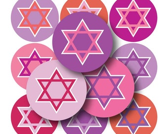 Pink and Purple Star of David Bottle Cap Images- 4x6 Digital Collage Sheet (No. 1083)1 Inch Circles for Bottlecaps, Hair Bow Centers, & More