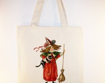 Adorable Vintage Child Witch Illustration transferred onto Canvas Tote -- Selection of sizes available