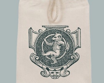 Vintage Teddy Bear Scroll Crest Lunch Bag Tote with Velcro closure and Rope Handle -- Image in ANY COLOR