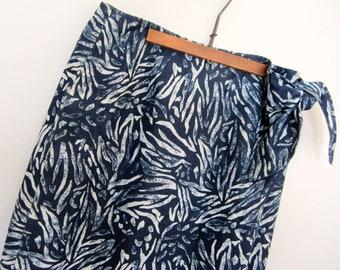 90's Denim Maxi wrap skirt high waisted side tie Denim wrap skirt S/M