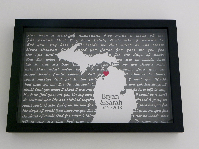 wedding gift song lyrics frame first dance lyrics frame. Black Bedroom Furniture Sets. Home Design Ideas