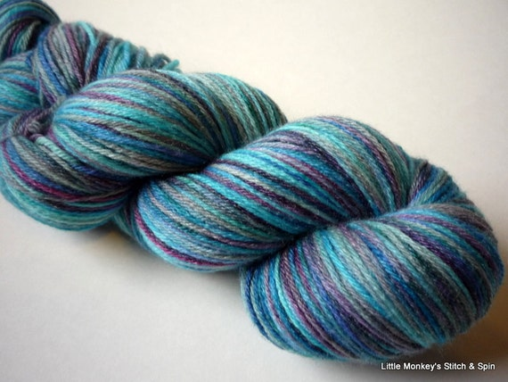 "Hand dyed Yarn, Bamboozled Sock, SW Merino Bamboo, ""Victory"""