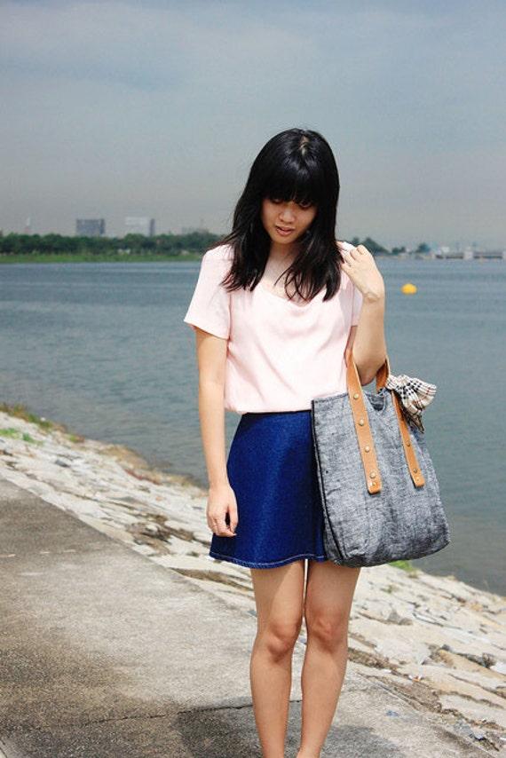 First Date Silk scalloped blouse shirt top rose pink blush peach black