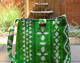 Messenger Bag - Vintage Kelly Green and White Tiki Tribal