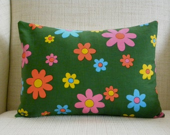 Throw Pillow Cover - Vintage Canvas Mod Daisies - Forest Green, Orange, Yellow, Pink, Blue - 12 x 16