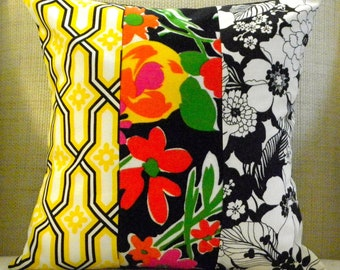 Pillow Cover - Vintage '70s Floral Mod Patchwork - White, Black, Yellow, Red & Green - 18 x 18