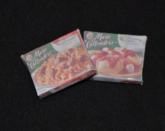 Dollhouse Miniature Groceries - One Inch Scale - Two Frozen Dinner Boxes - Swedish Meatballs and Pasta Shells
