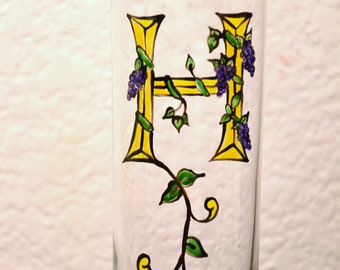 "Initial ""H"" - Handpainted Illumintated Letter - Celtic Style - 12 oz. Glass"