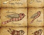 HomeSpun Christmas Bird Card & Tag Sheet 8.5x11 Download Printable