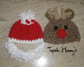 2 Christmas Hats - Santa and Rudolph 0 -3 months