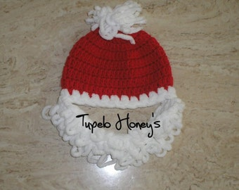Santa With Beard  Hat      (Baby / Toddler  size)