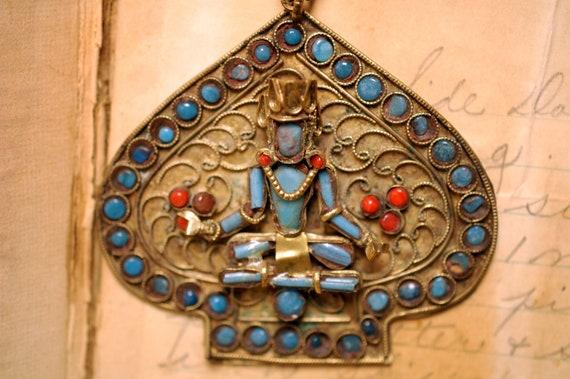 Nepal Turq Carnelian jewelry Tribal Design Necklace