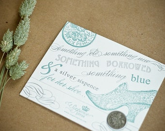 Lucky Sixpence Coin and Letterpress Card - Wedding Sixpence