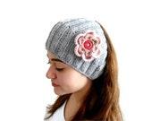 Gray, mothers day, fall fashion, Flower Headband,  warm knit headband, knitting, gift, fashion, winter trend,