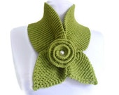 Apple green , neckwarmer,shawl,scarf,knitting,Holiday Accessories,Christmas,Halloween,gift