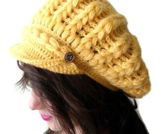 Mustard Yellow crochet hat,Holiday Accessories,Christmas,Halloween,gift
