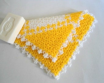 Handmade  Crochet Dishcloths Washcloths, christmas gift, mothers day, yellow and white,  unique