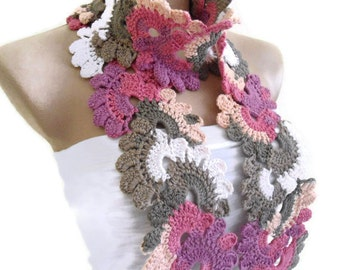 Crocheted Multi Color Bamboo Lace Neckwarmer,scarf,fashion,gift, valentine,  winter trends, fashion, 2014