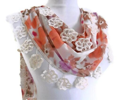 chiffon,mothers day,  Special Fashion Lace Shawl, wedding, bride, Scarf ,2012 Spring Fashion, traditional Turkish-style, somon