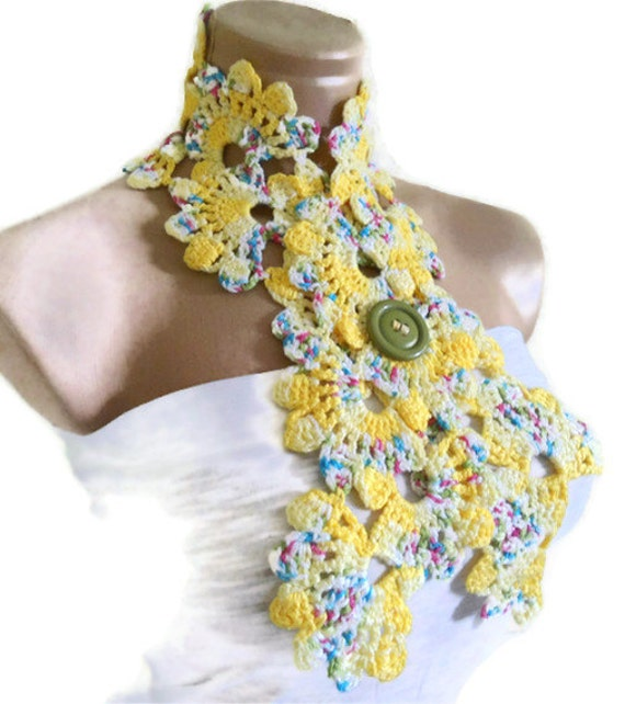 Crocheted  yellow  Lace Neckwarmer,scarf,fashion,gift, valentine, summer trends, fashion, 2012