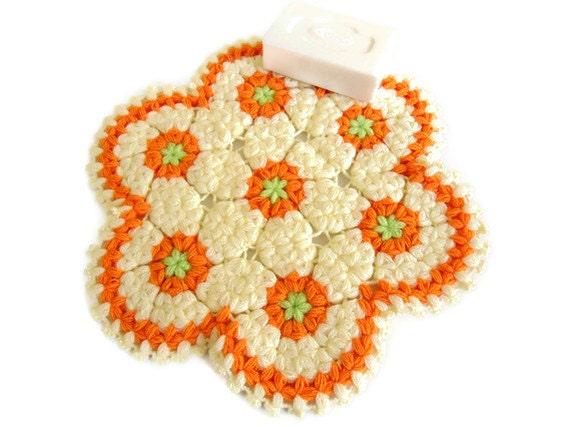 Handmade  Crochet Dishcloths Washcloths, christmas gift, mothers day, orange and ivory,  unique
