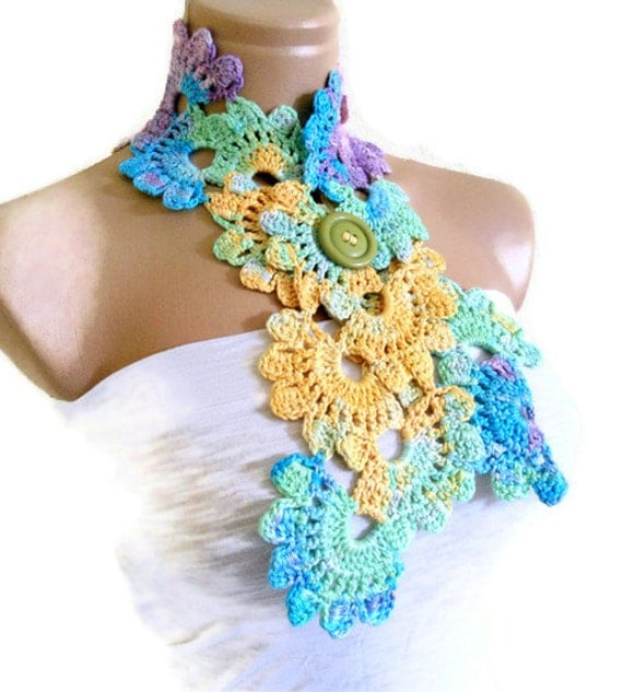 Crocheted Multi Color Bamboo Lace Neckwarmer,scarf,fashion,gift, valentine,  summer trends, fashion, 2012