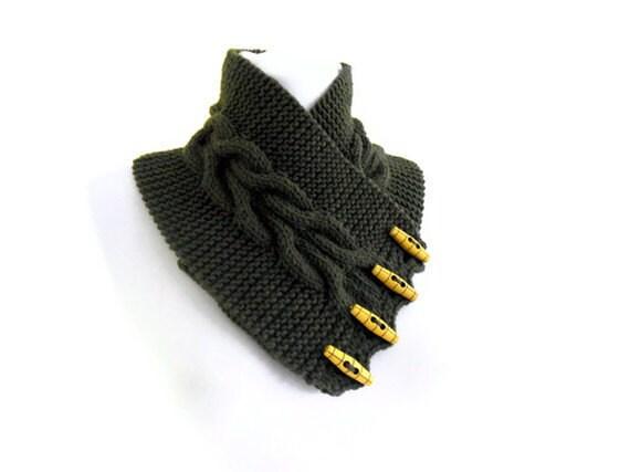 Dark olive green, neckwarmers, autumn, wool, hand-knitted,fashion,gift,