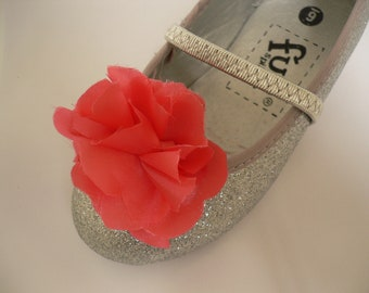 Peach Ruffle Flower Girl  Shoe Clips FREE SHIPPING