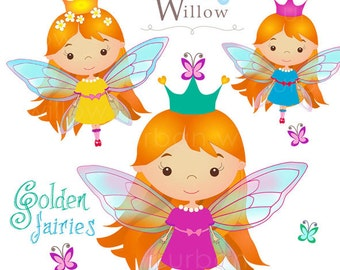 GOLDEN FAIRIES clip art set - Png & Jpeg files.