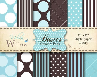 "INSTANT DOWNLOAD - Digital paper/ patterned backgrounds - Basics, Creators Pack  P109 - 12"" x 12"" digital files."
