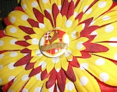 Wizard Inspired Scarlet and Gold Lion House flower hair clip with Crest Center