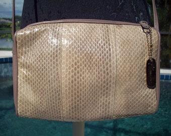 Tan Snake Skin Purse by Clemente