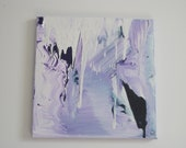 "SALE 40% off Purple/White/Navy/Grey medium acrylic abstract painting 12""x12"""