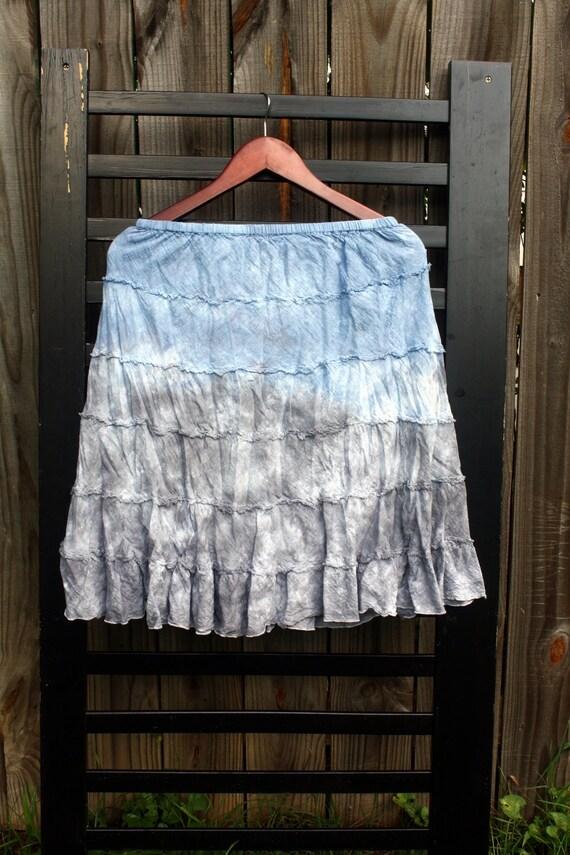 30% Off - Ruffled skirt - Denim Blue and Grey Tie Dye (Womens Medium)