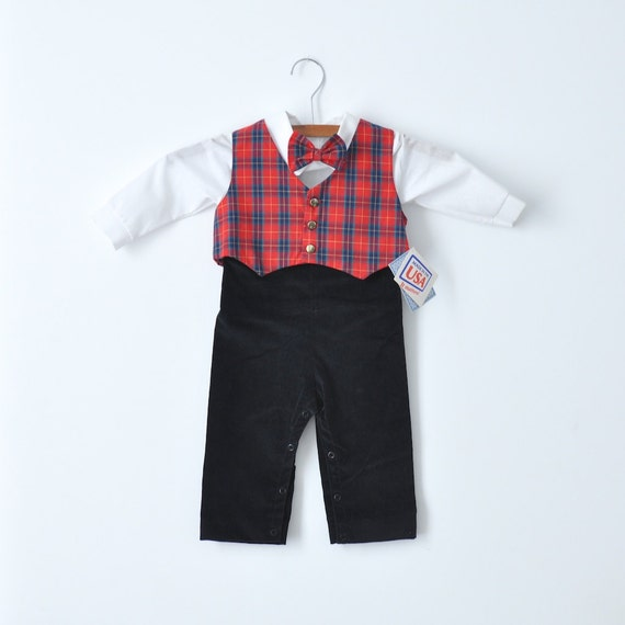 Vintage NEW OLD STOCK Red Plaid Suit (12 months)