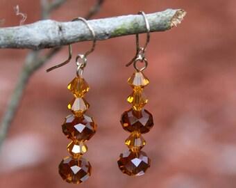 Honey  tri- bicone crystal earrings
