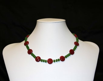 17 inch Red and Green Jade necklace and Earrings with Sterling silver earwires.