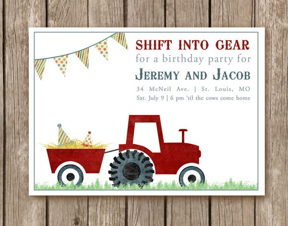 Items Similar To Printed Tractor Birthday Party Invitations And