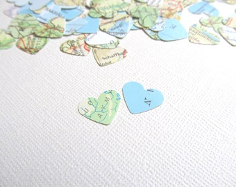 Vintage Map Heart Confetti, Party Decor, Travel Themed Weddings, Showers, Set of 200