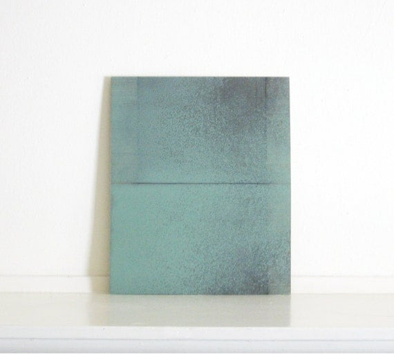 Etching Art Print/ Minimalist Home Decor: Chiral 13 (in Mint Green and Charcoal Gray)